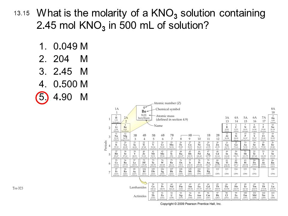 What is the molarity of a KNO3 solution containing 2