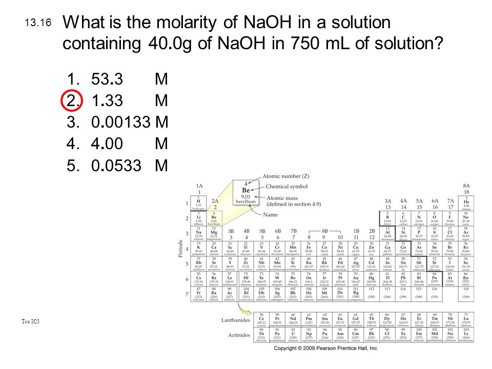 What is the molarity of NaOH in a solution containing 40