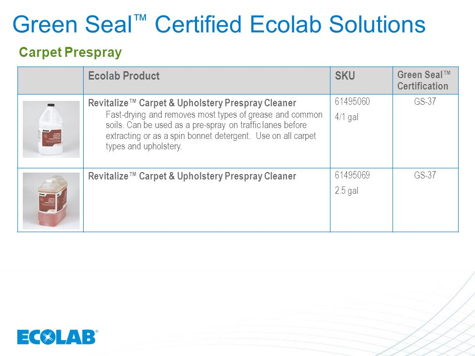Ecolab Green Seal™ Certified Solutions - ppt video online download