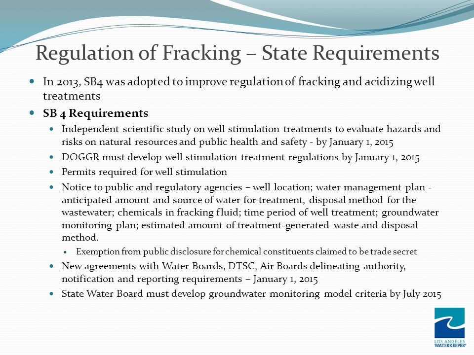 Regulation of Fracking – State Requirements