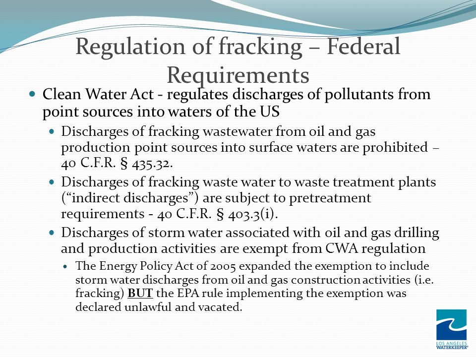 Regulation of fracking – Federal Requirements