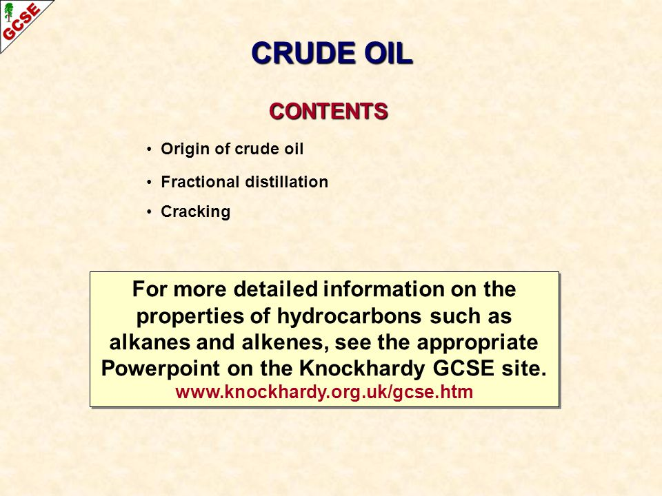 CRUDE OIL CONTENTS. Origin of crude oil. Fractional distillation. Cracking.