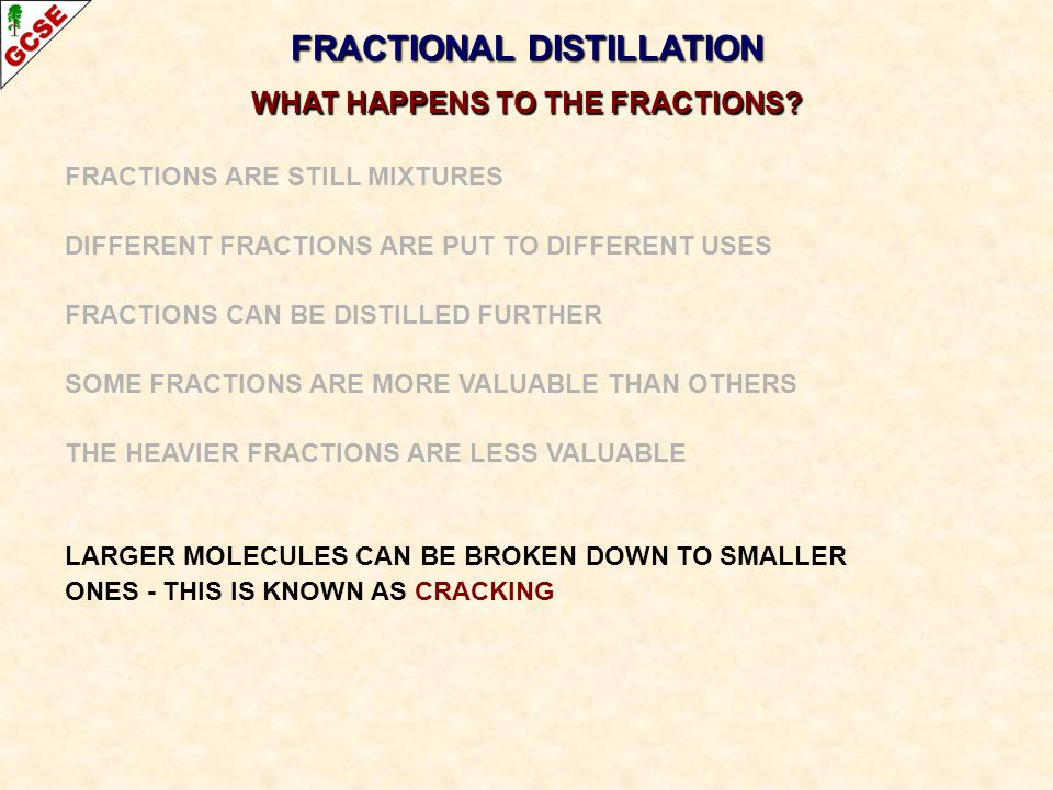 FRACTIONAL DISTILLATION WHAT HAPPENS TO THE FRACTIONS