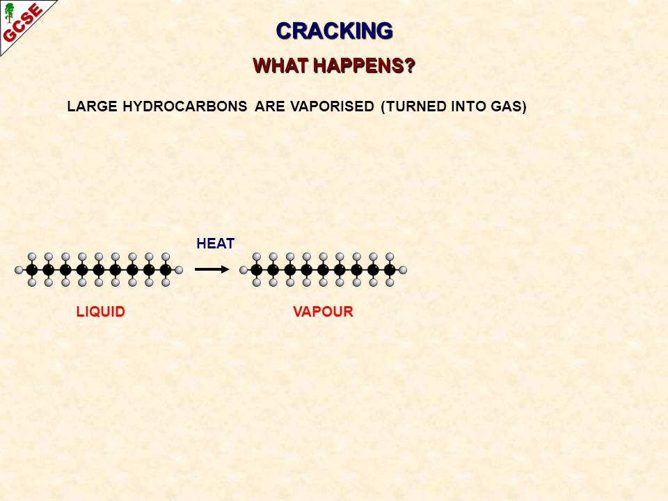 CRACKING WHAT HAPPENS. LARGE HYDROCARBONS ARE VAPORISED (TURNED INTO GAS) HEAT.