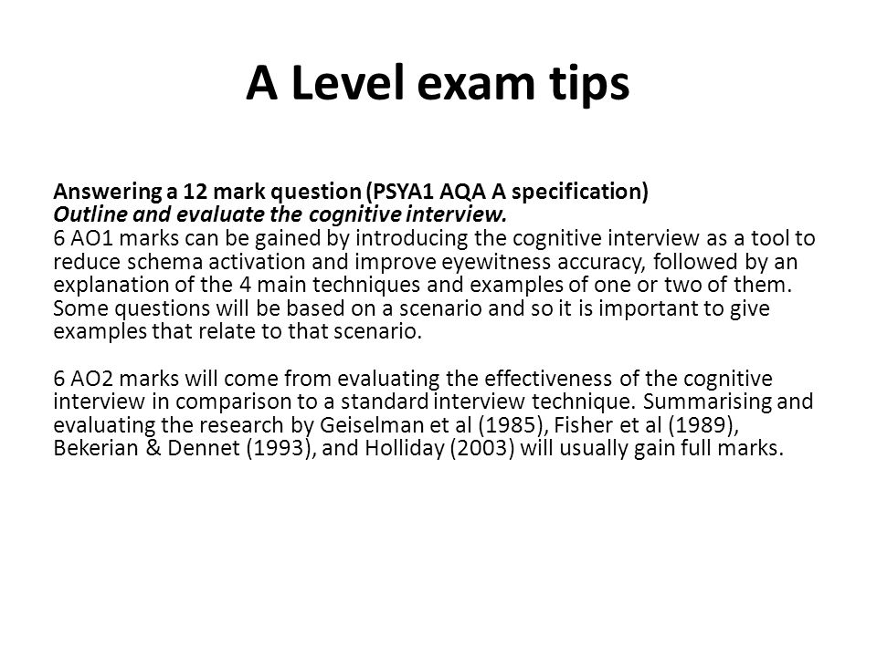 A Level exam tips