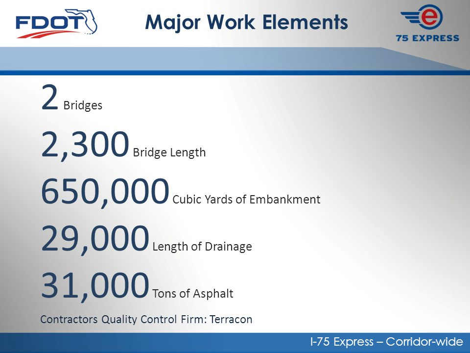 Corridor-Wide Construction Presentation to FDOT Materials