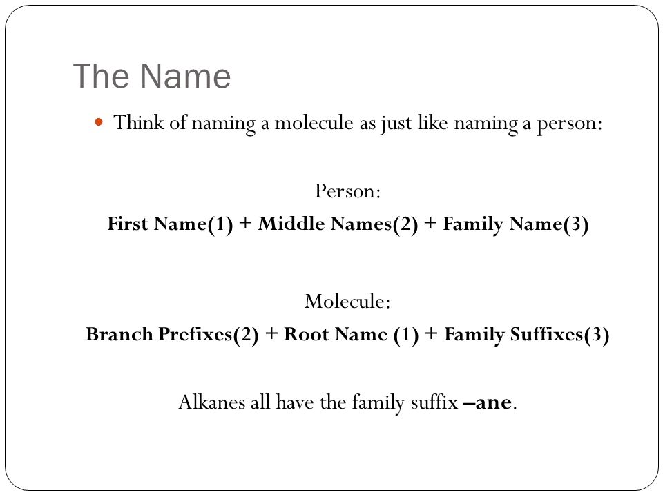 The Name Think of naming a molecule as just like naming a person: