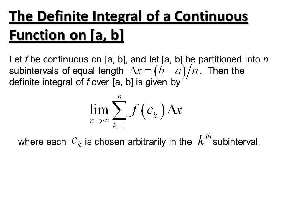 The Definite Integral of a Continuous Function on [a, b]