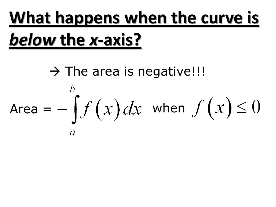 What happens when the curve is below the x-axis