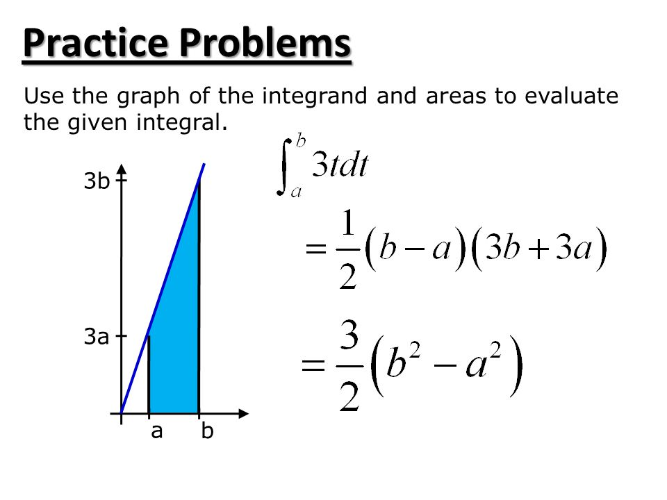 Practice Problems Use the graph of the integrand and areas to evaluate
