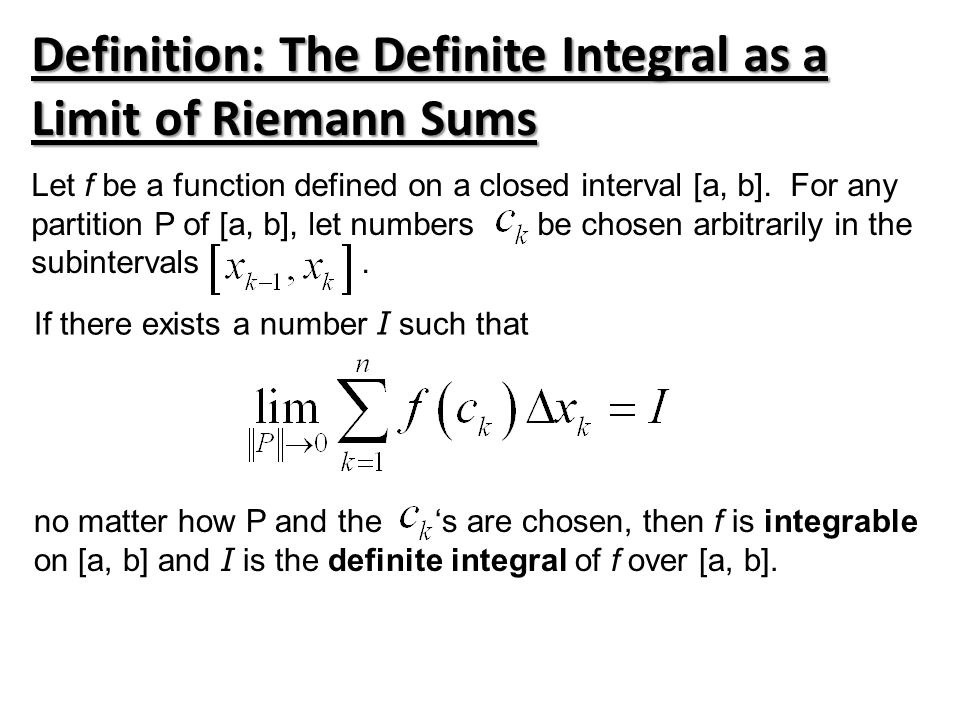 Definition: The Definite Integral as a Limit of Riemann Sums