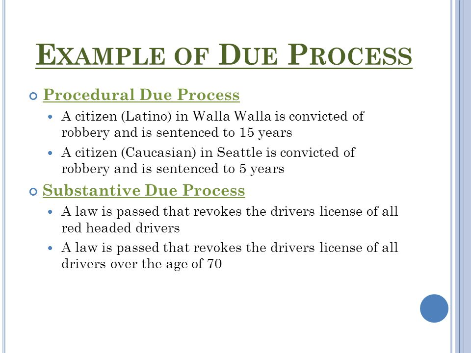 Example Of Due Process Of Law