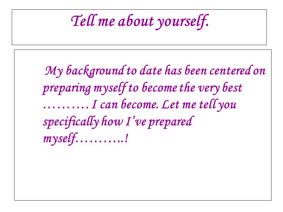 tell me about yourself dating example