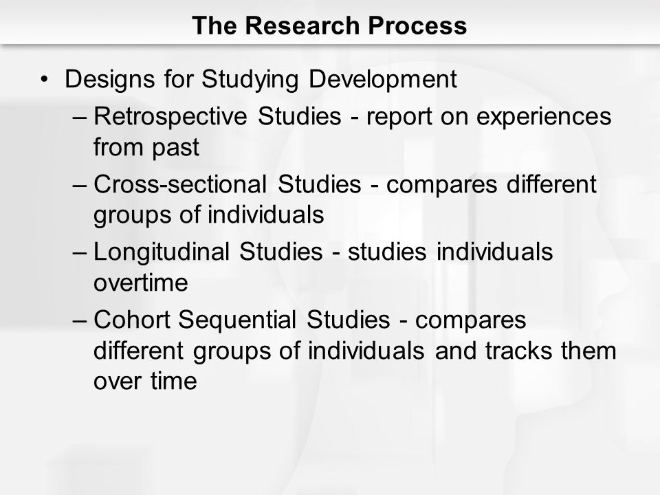 The Research Process Designs for Studying Development. Retrospective Studies - report on experiences from past.