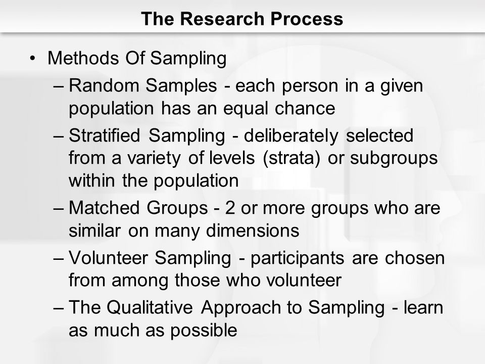 The Research Process Methods Of Sampling. Random Samples - each person in a given population has an equal chance.