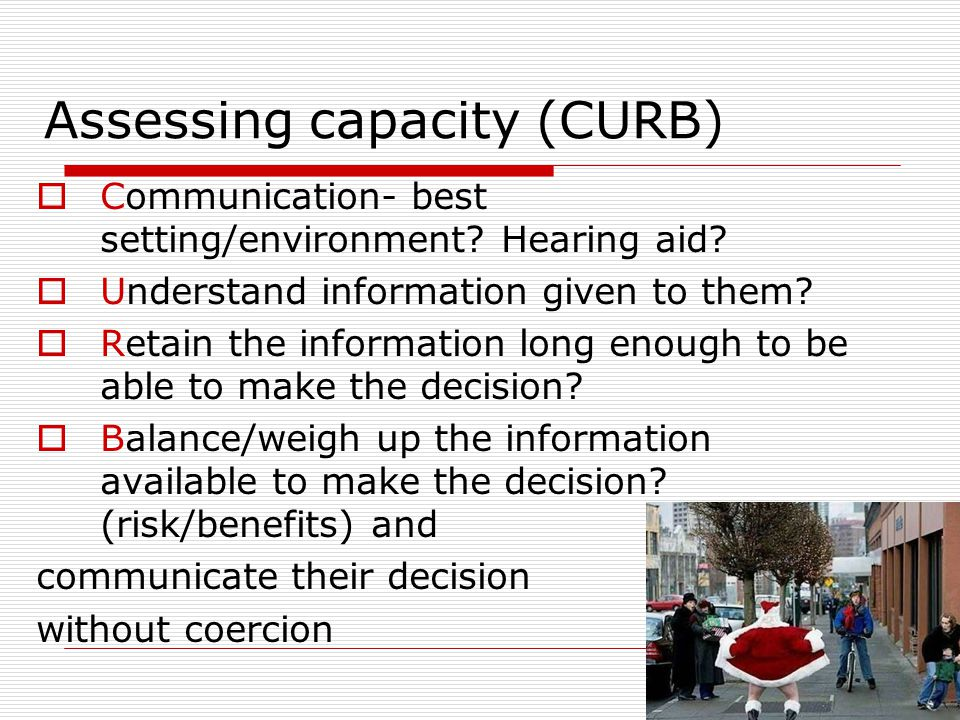 Assessing capacity (CURB)