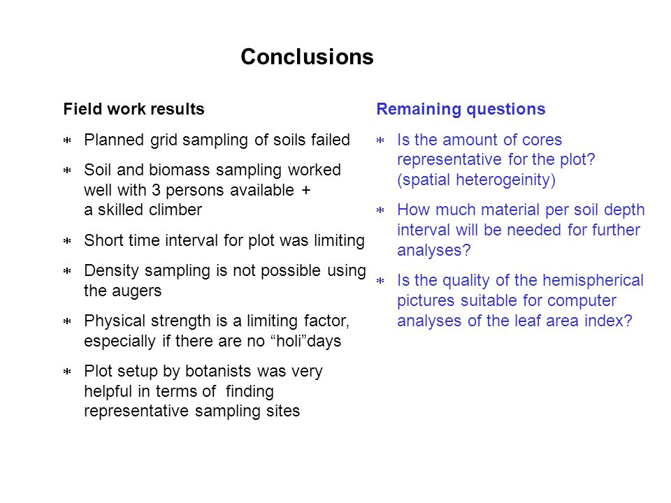 Conclusions Field work results Planned grid sampling of soils failed