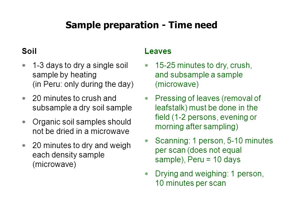 Sample preparation - Time need