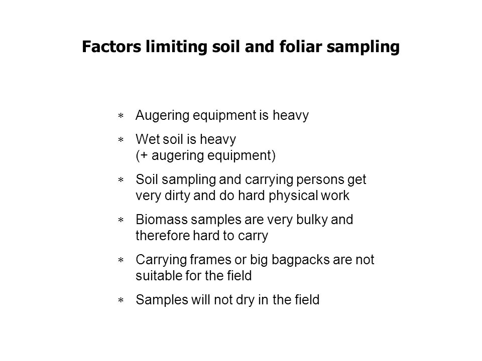 Factors limiting soil and foliar sampling