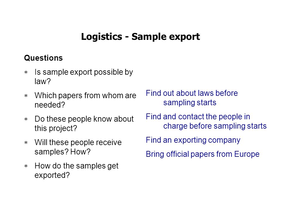 Logistics - Sample export