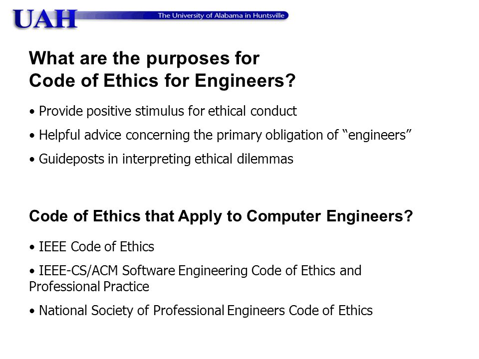What are the purposes for Code of Ethics for Engineers