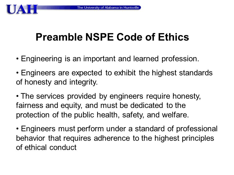 Preamble NSPE Code of Ethics
