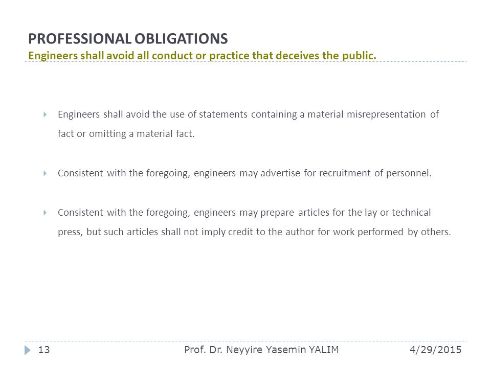 PROFESSIONAL OBLIGATIONS Engineers shall avoid all conduct or practice that deceives the public.