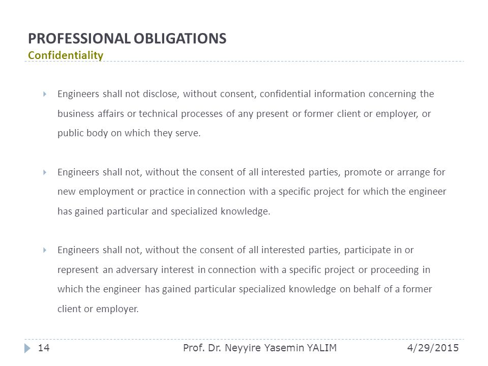 PROFESSIONAL OBLIGATIONS Confidentiality