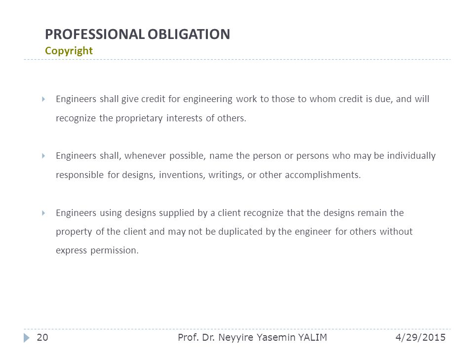 PROFESSIONAL OBLIGATION Copyright