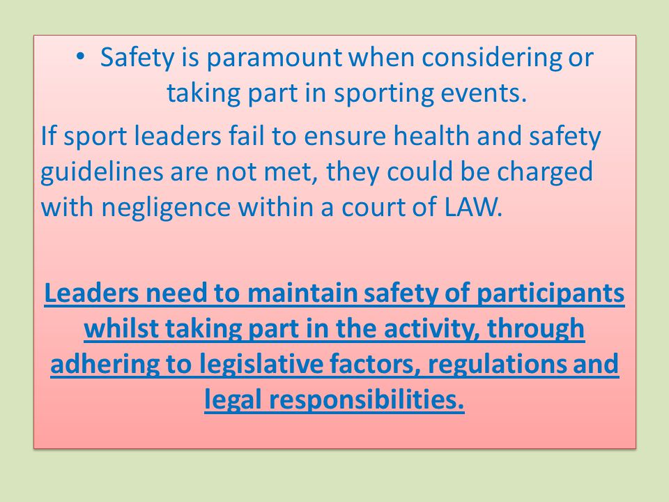 Safety is paramount when considering or taking part in sporting events.