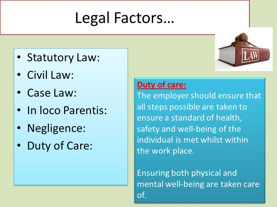 Legal Factors… Statutory Law: Civil Law: Case Law: In loco Parentis: