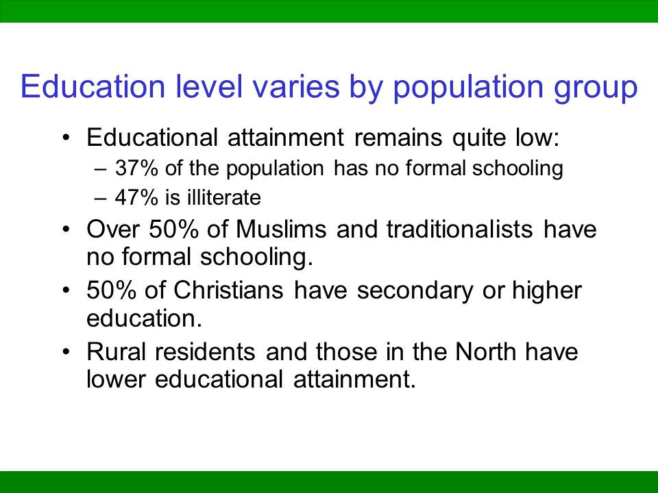 Education level varies by population group
