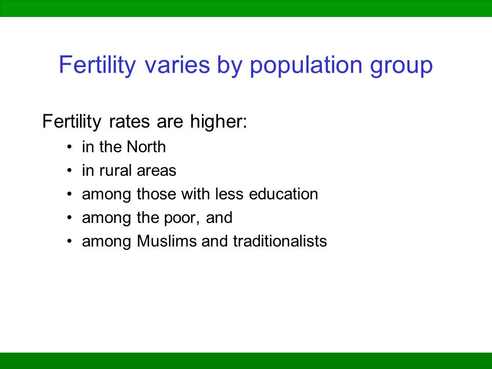 Fertility varies by population group