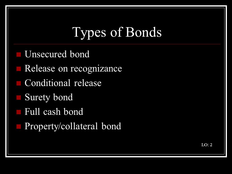 Types of Bonds Unsecured bond Release on recognizance
