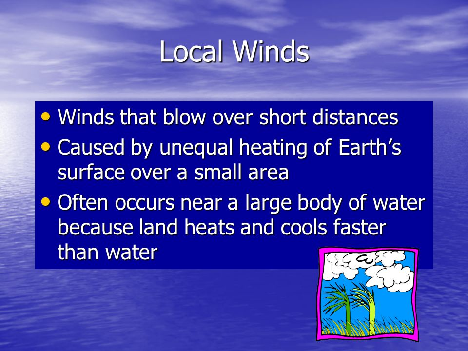 Local Winds Winds that blow over short distances