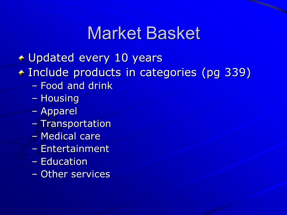 Market Basket Updated every 10 years