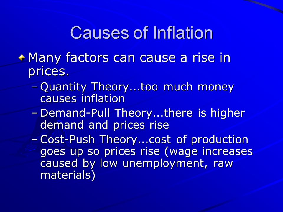 Causes of Inflation Many factors can cause a rise in prices.