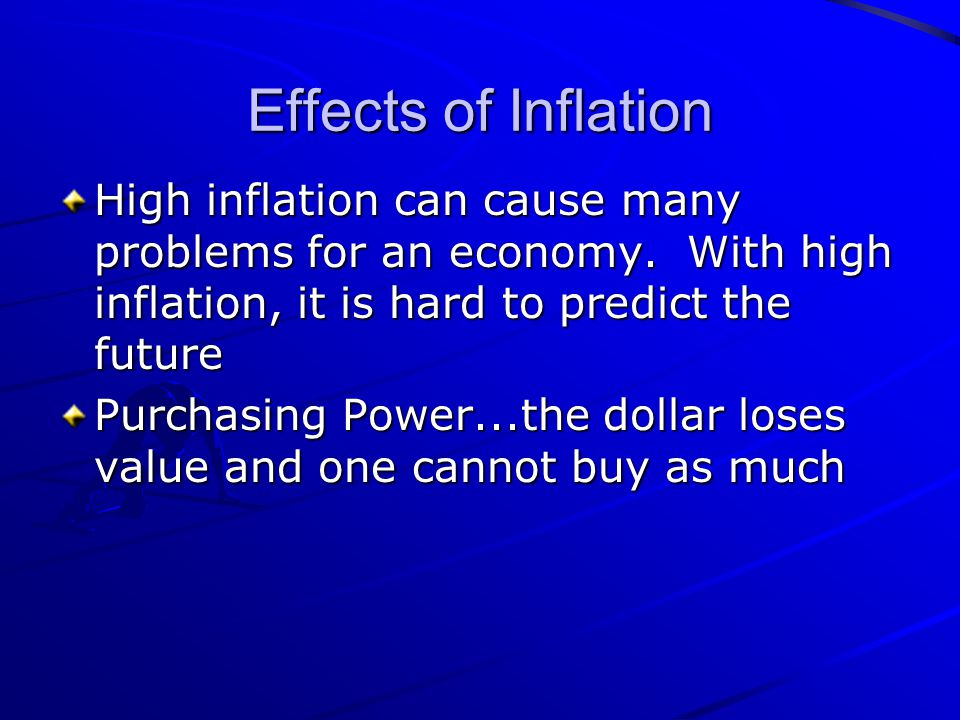 Effects of Inflation High inflation can cause many problems for an economy. With high inflation, it is hard to predict the future.