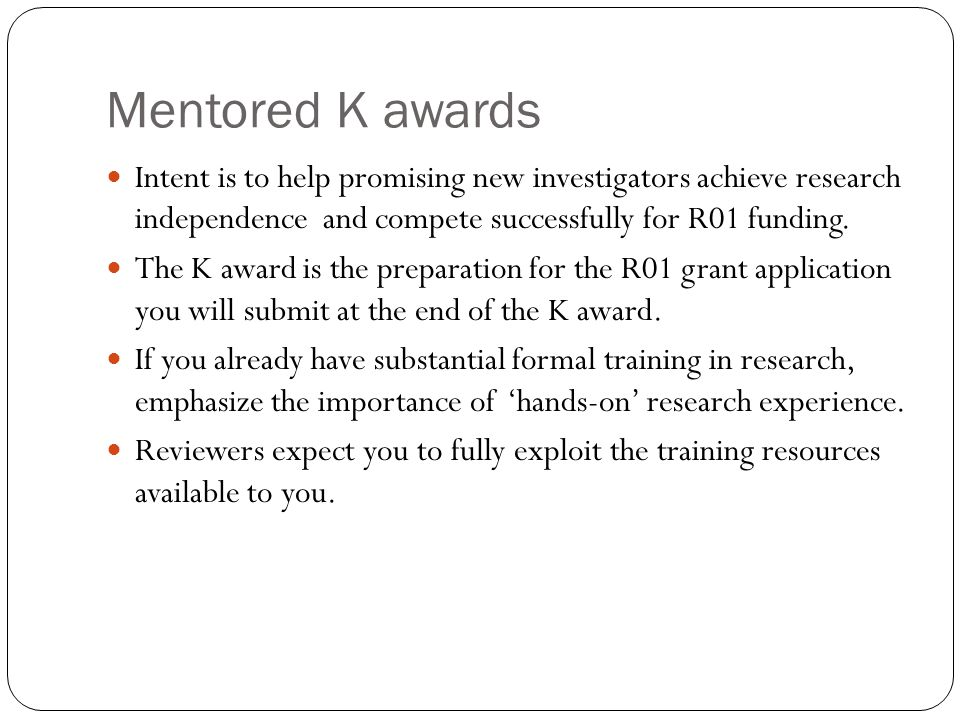 Writing NIH Career Development K Awards