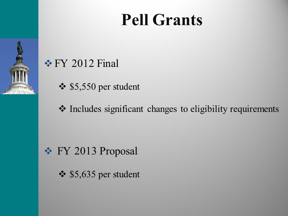 Pell Grants FY 2012 Final FY 2013 Proposal $5,550 per student