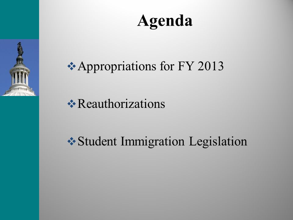 Agenda Appropriations for FY 2013 Reauthorizations