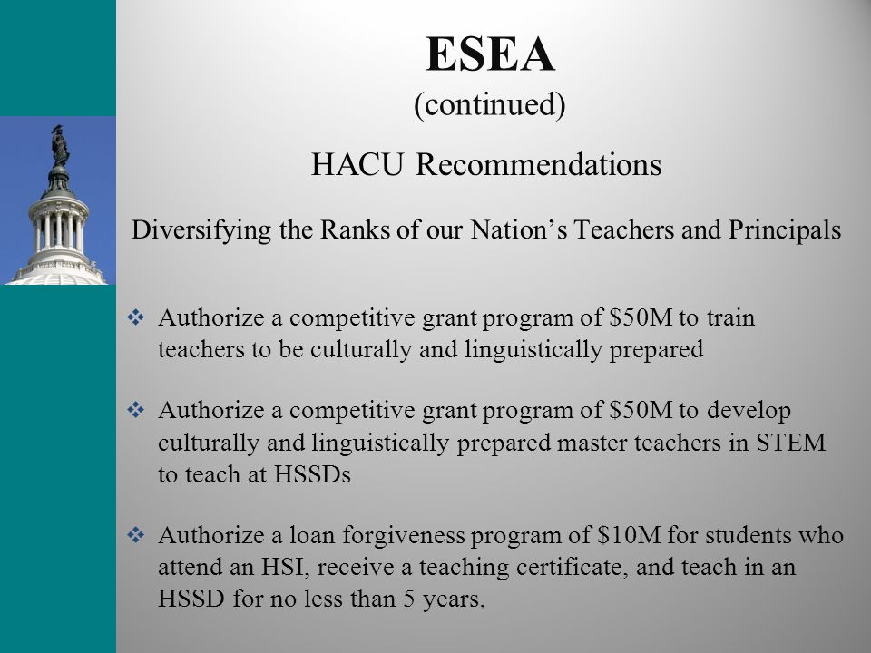 ESEA (continued) HACU Recommendations Diversifying the Ranks of our Nation's Teachers and Principals.