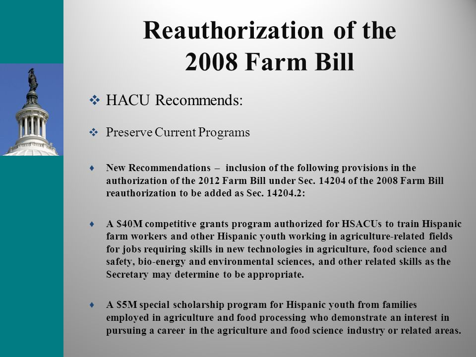 Reauthorization of the 2008 Farm Bill