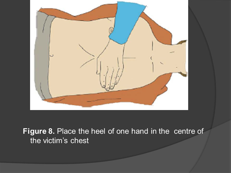 Figure 8. Place the heel of one hand in the centre of the victim's chest