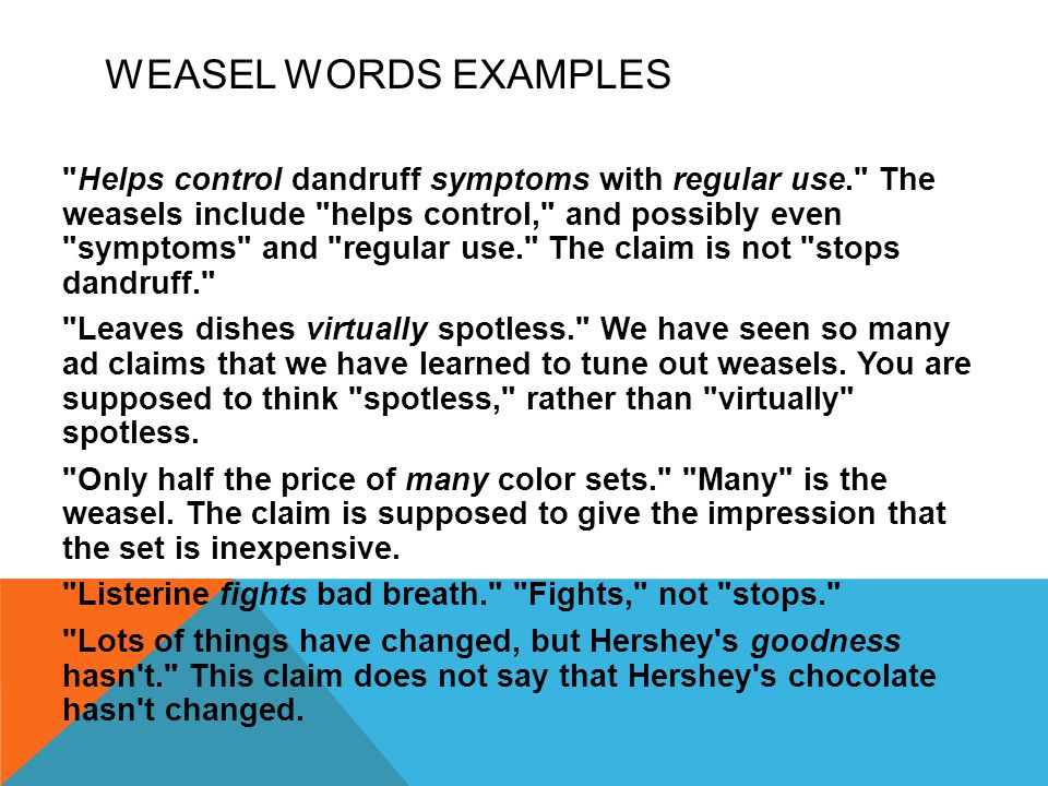 Weasel Words Examples