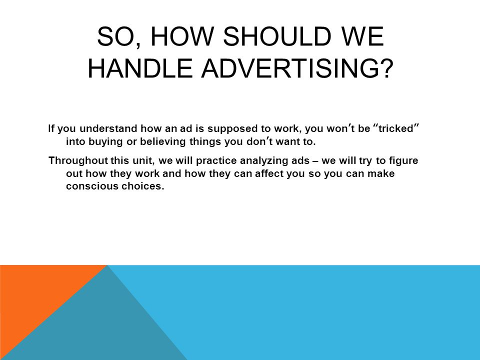 So, How Should We Handle Advertising