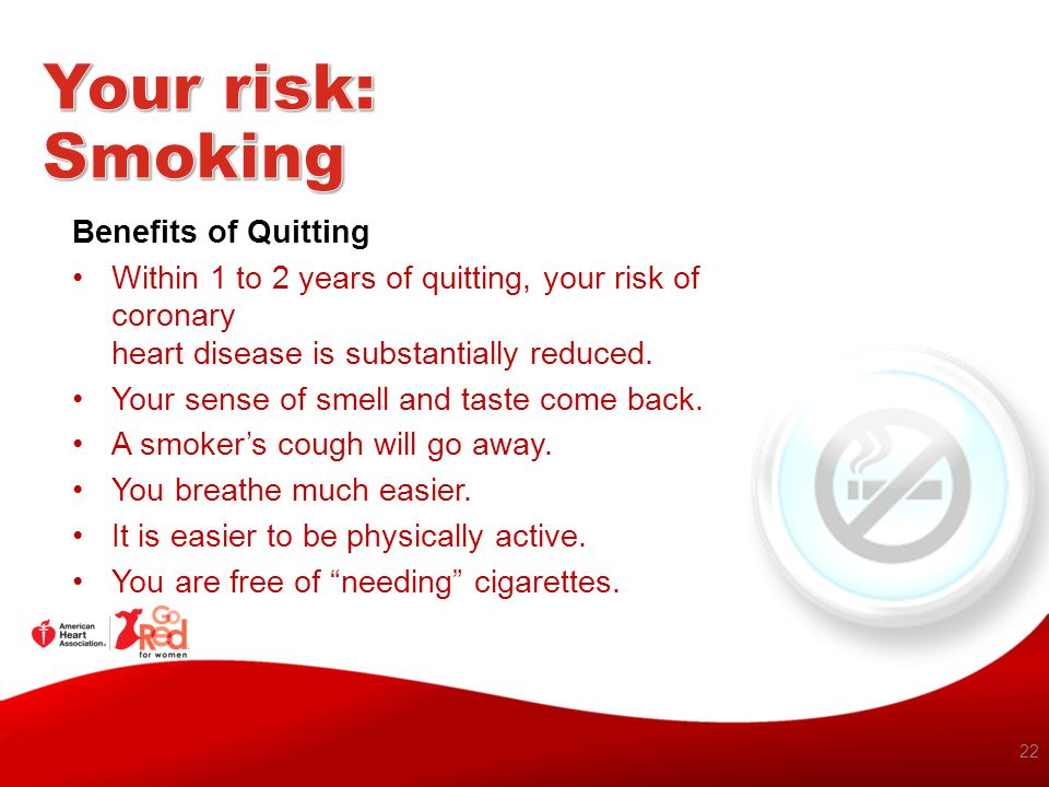 Your risk: Smoking Benefits of Quitting