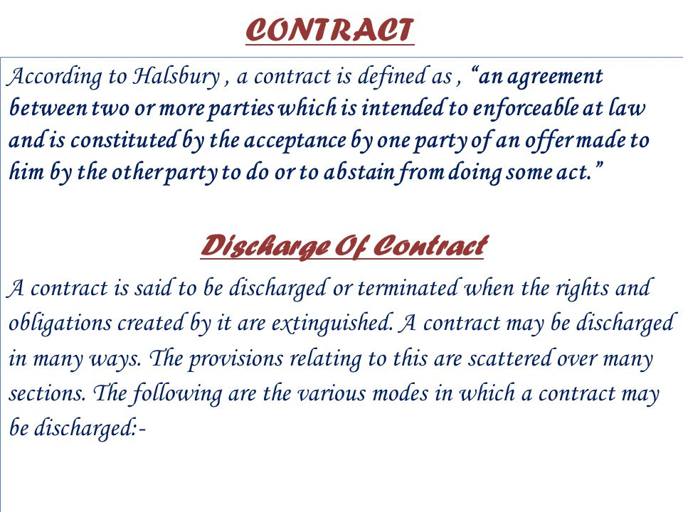 Discharge Of Contract Commercial And Labour Law Ppt Video Online