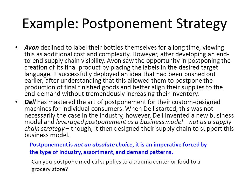 postponement examples