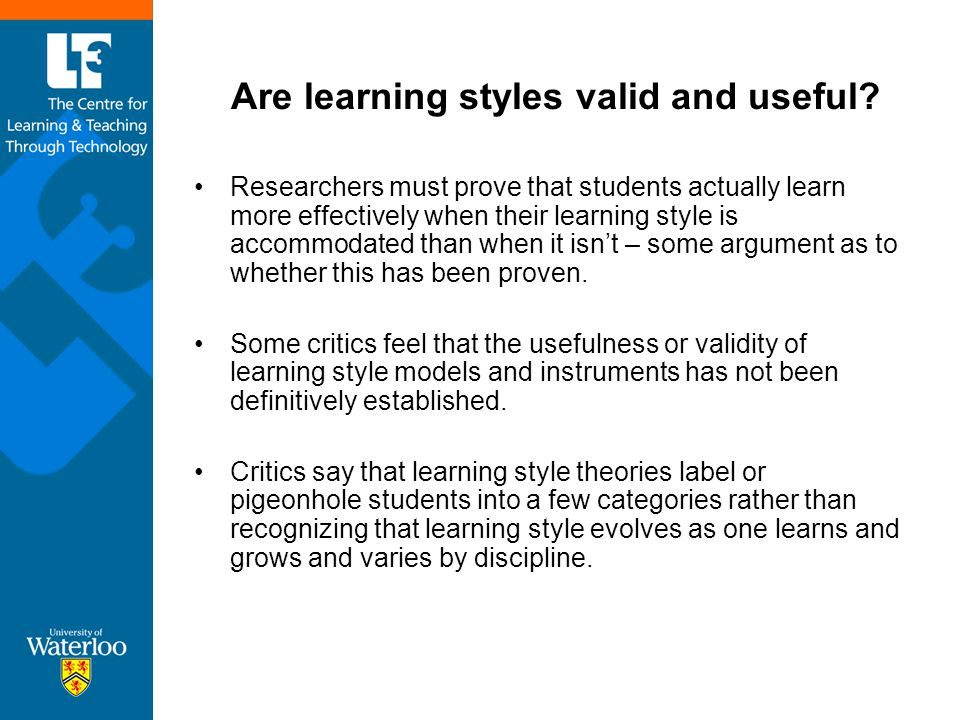 Are Learning Styles Real And Useful >> Considering Learning Styles Communicating With Technology Ppt